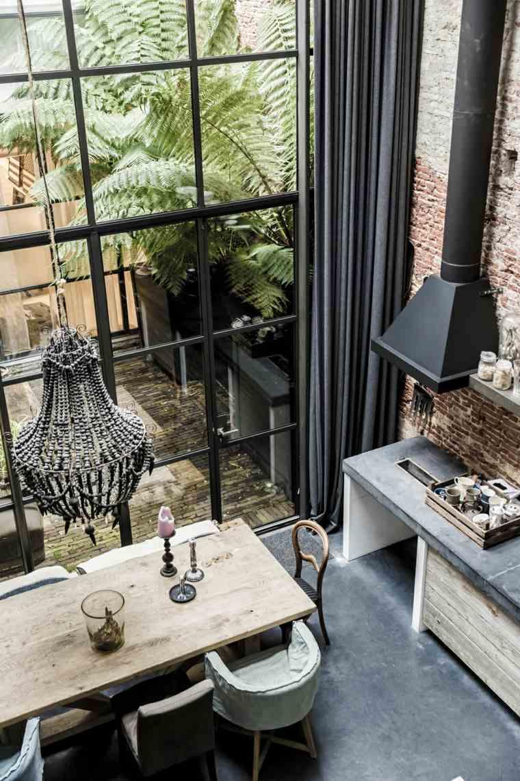 disenos de cocinas estilo industrial espacios compartidos comedor ideas