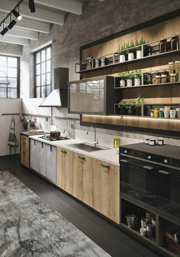 disenos de cocinas estilo industrial estantes abiertos madera ideas