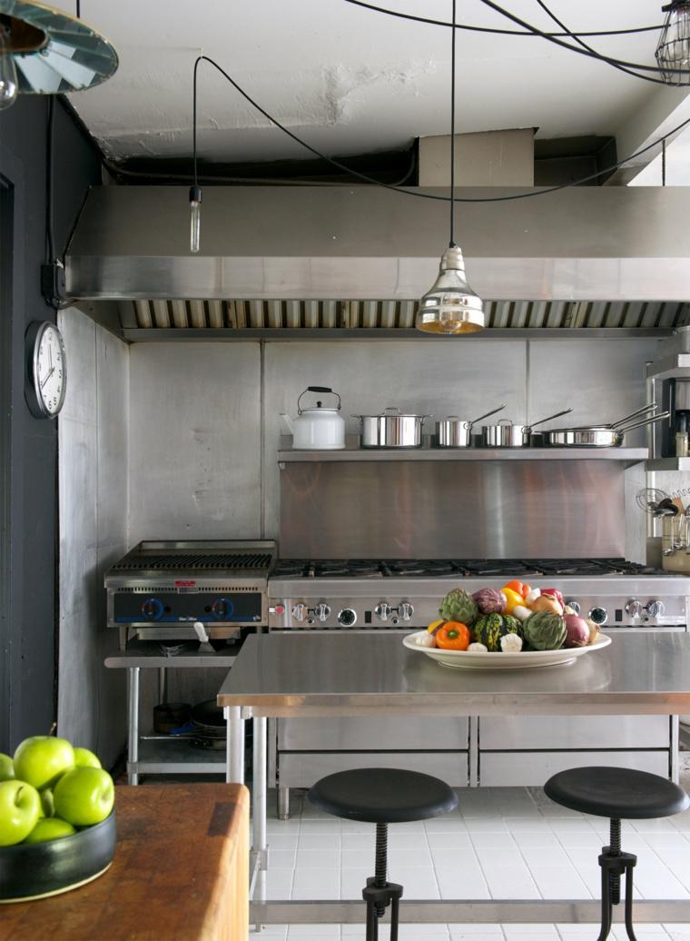 disenos de cocinas estilo industrial isla enciemra acero ideas