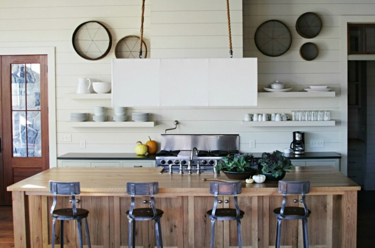 disenos de cocinas estilo industrial isla madera ideas