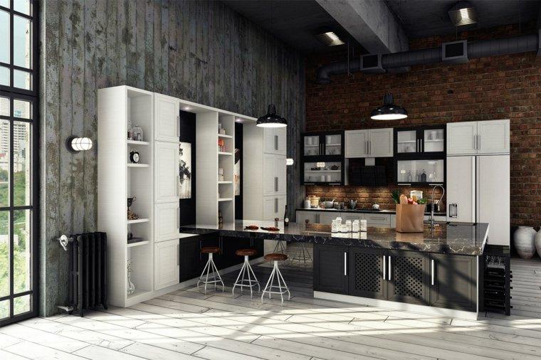 disenos de cocinas estilo industrial muebles blanco negro ideas