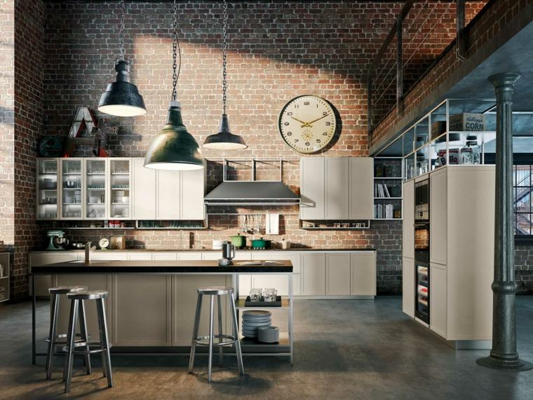 disenos de cocinas estilo industrial pared ladrillo ideas