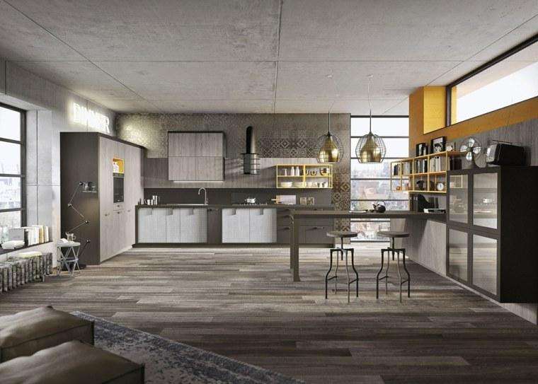 disenos de cocinas estilo industrial urbano original ideas
