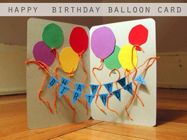 tarjeta cumpleaós banderillas y globos