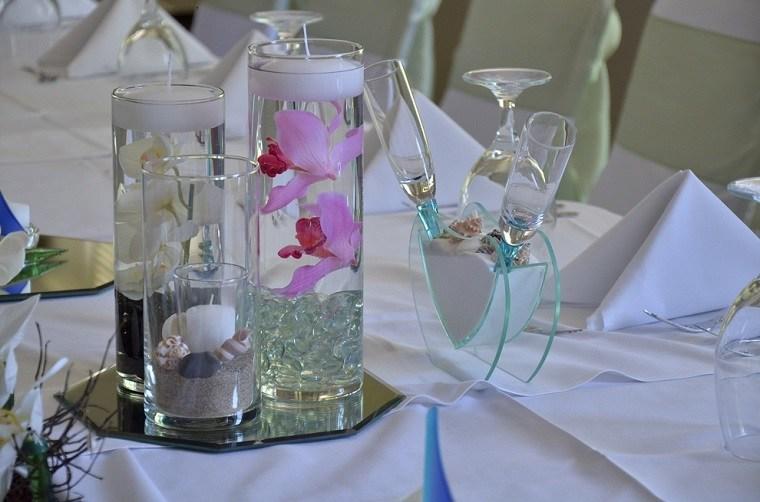 vasos velas flotantes