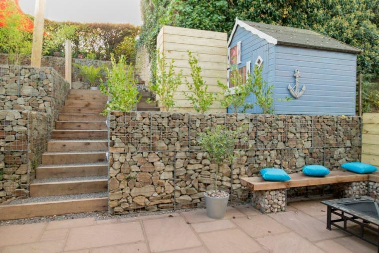 diseño terraza gaviones piedras