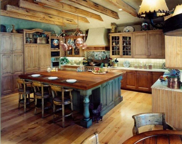 diseño cocina isla rustica