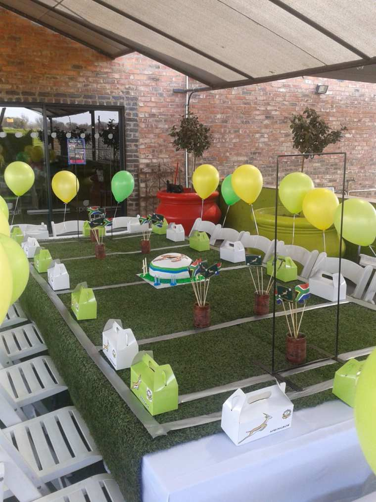 divertida tematica deportes mesa verdes