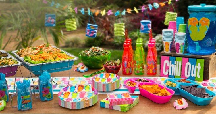 divertida verano fiesta mesa especiales coloridas