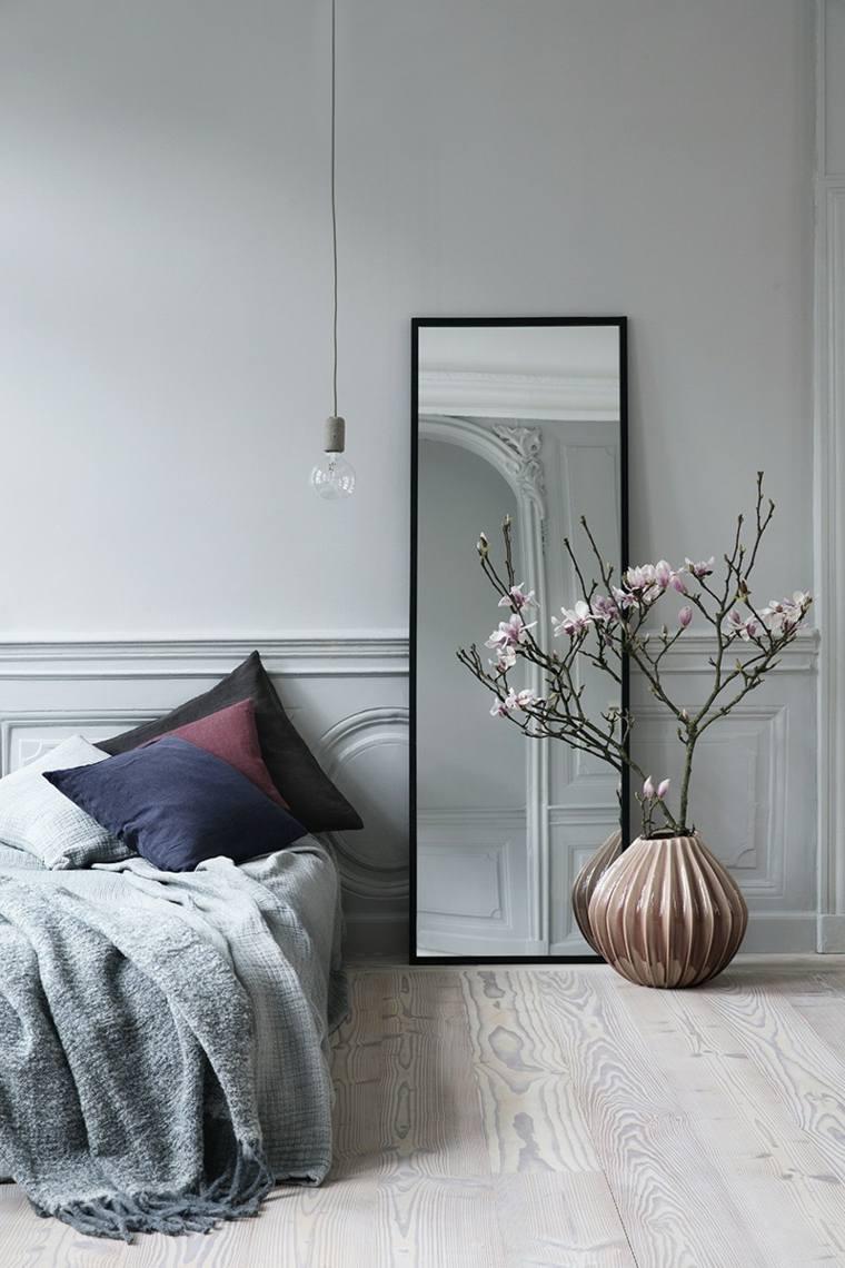 dormitorios espejos suelos madera ideas flores
