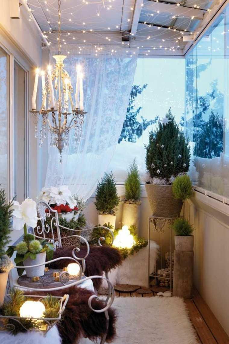 decoracion romántica balcón pequeño