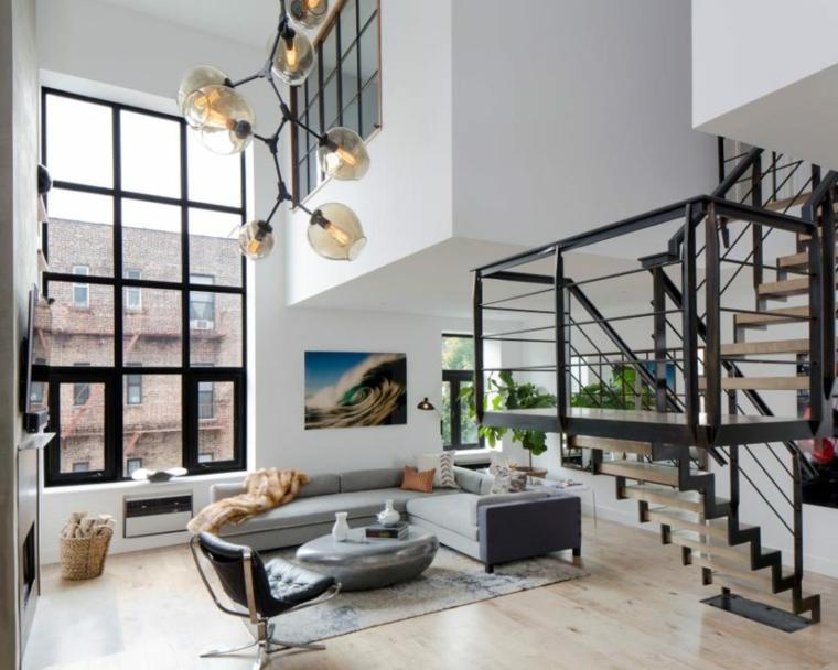 escalera metalica madera visual atractivo calidos