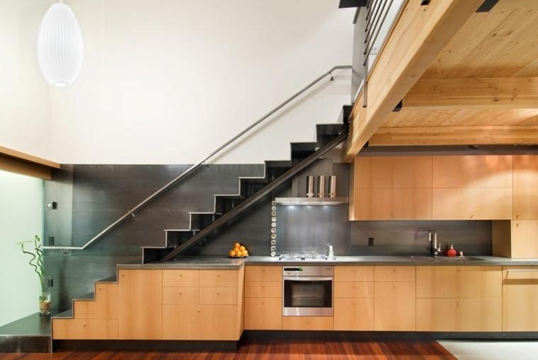 escaleras de interior modernas cocina muebles madera ideas
