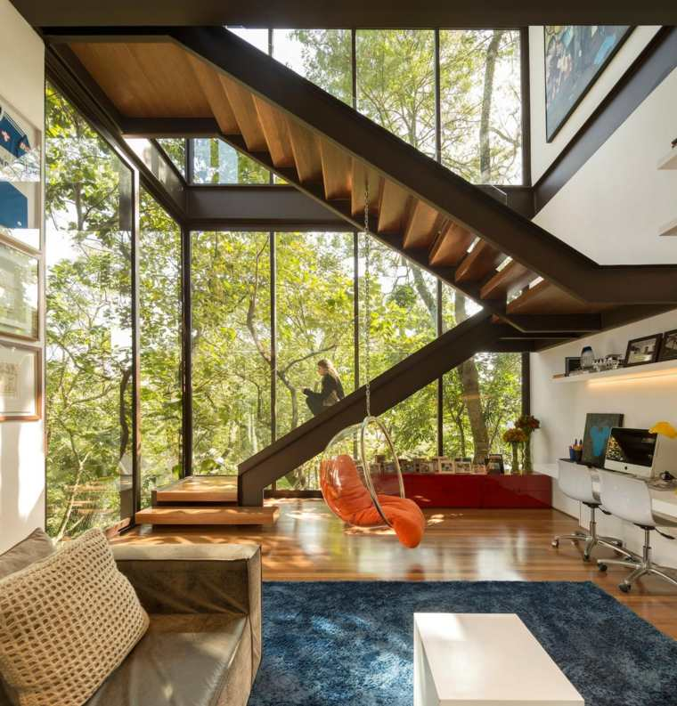 escaleras de interior modernas combinacion madera acero ideas