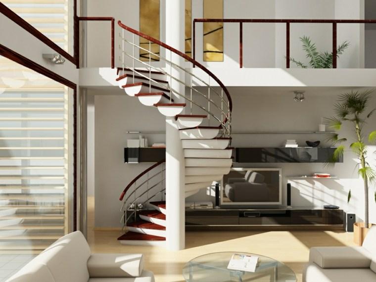 escaleras de interior modernas estilo caracol salon ideas