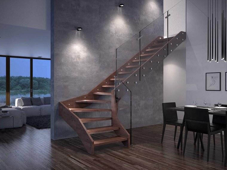 Escaleras de interior modernas 40 ideas para elevar el - Escalera de madera interior ...