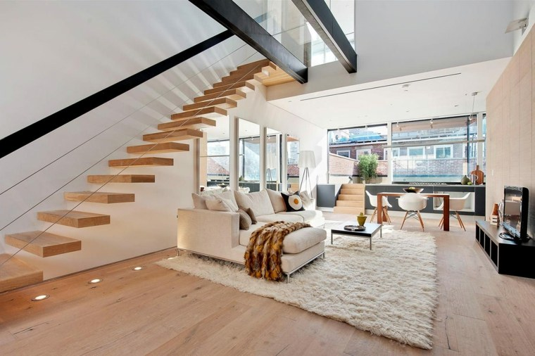 escaleras de interior modernas iluminacion led suelo ideas