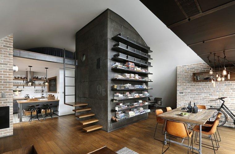 escaleras de interior modernas madera estanteria apartamento moderno ideas