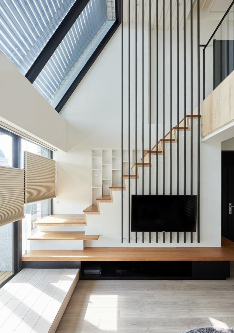 escaleras de interior modernas opciones estilo salon ideas
