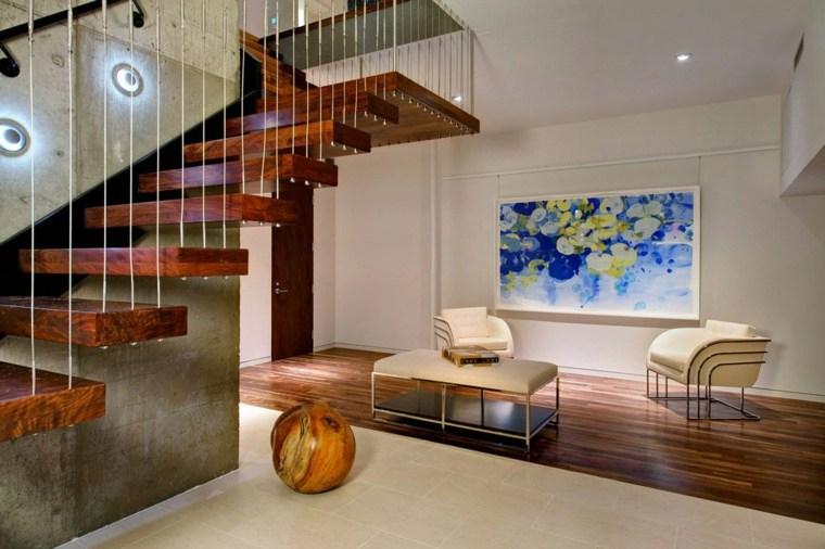 escaleras de interior modernas peldanos flotantes ideas
