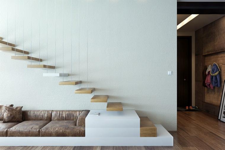 escaleras de interior modernas peldanos madera ideas