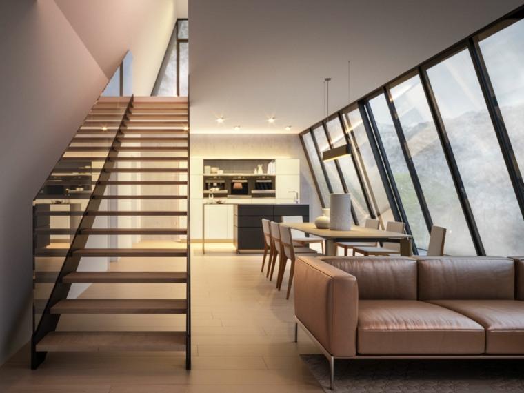 escaleras de interior modernas salon luminoso ideas