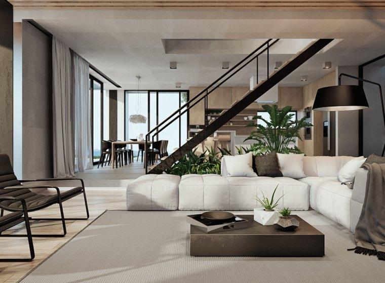 escaleras de interior modernas salon muebles blancos ideas