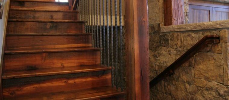 escaleras madera barras acero forjado