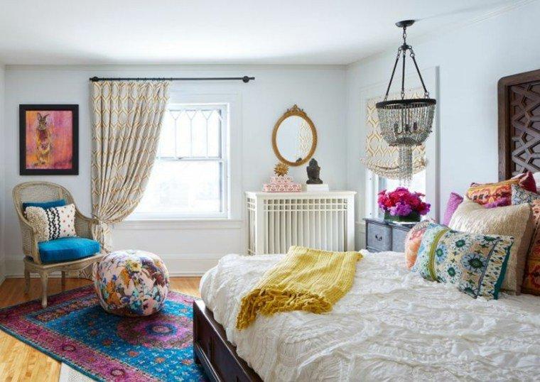 estilo boho chic añfombras acentos color muebles