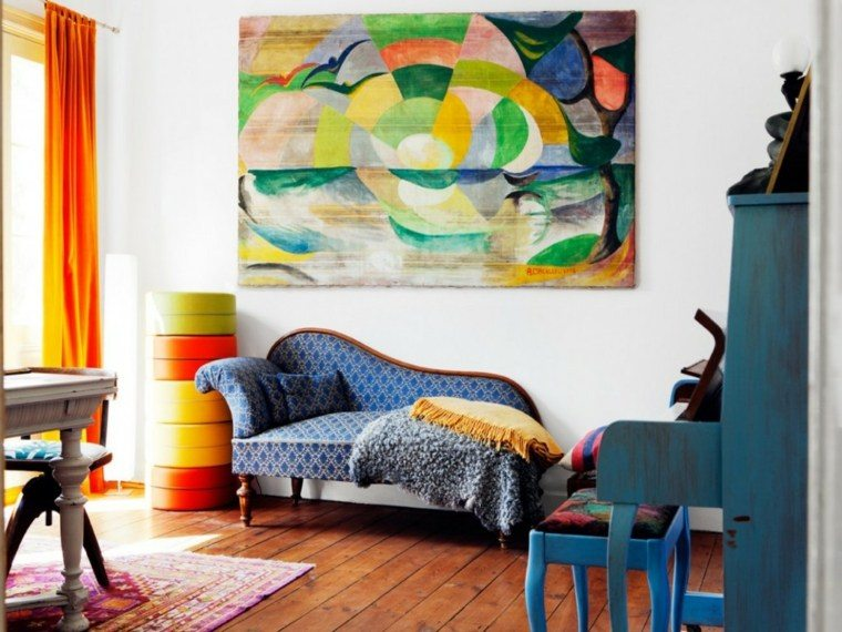 estilo boho chic naranja acentos arte paredes