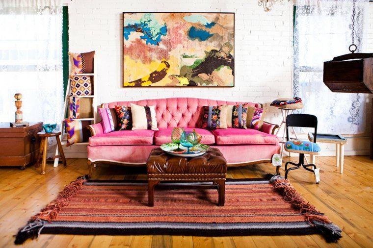 estilo boho chic sillon rosa acentos alfombras