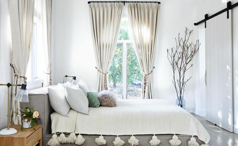 estilo boho chic variante tonos neutros cortinas