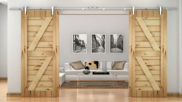 Puertas correderas de madera de estilo granero 42 ideas for Puertas pintadas originales