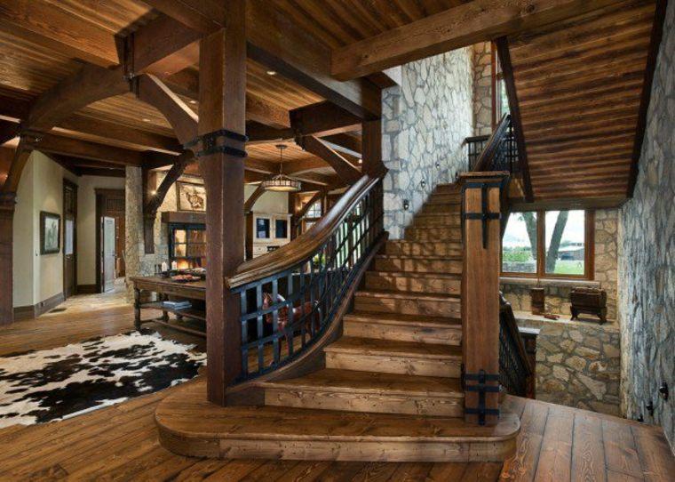estupendo diseño escalera rustica