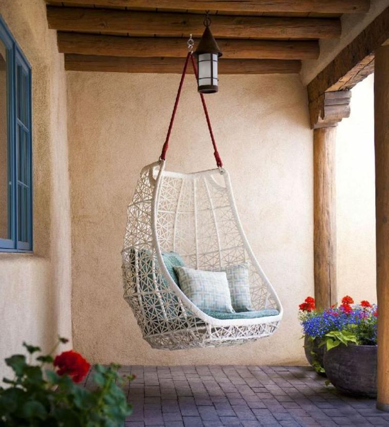 Balancines y hamacas para terrazas 34 ideas impresionantes for Sillon colgante jardin