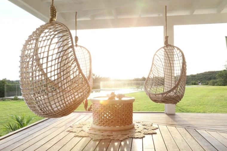 Balancines y hamacas para terrazas - 34 ideas impresionantes