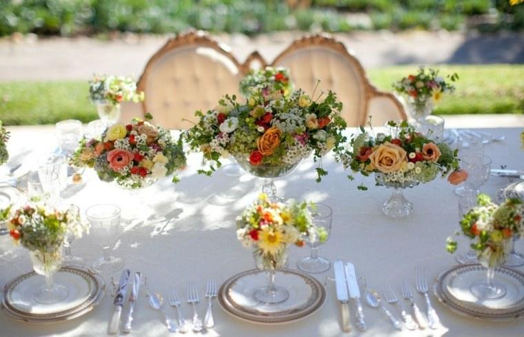 flores centro platos opciones decorar mesa ideas
