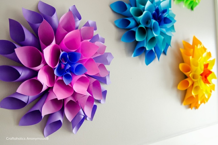 flores de papel pared