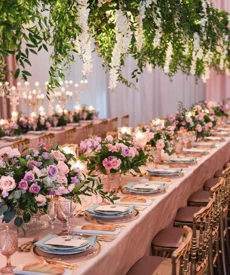 flores mesa decoracion sala boda ideas