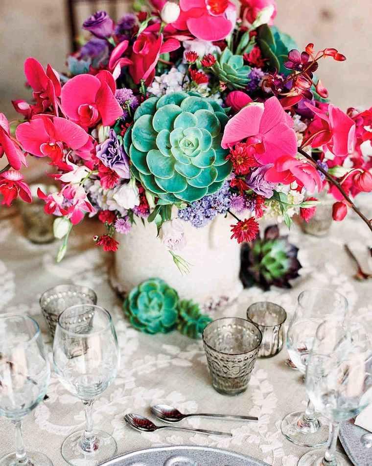 flores suculentas diseno decoracion centro mesa ideas