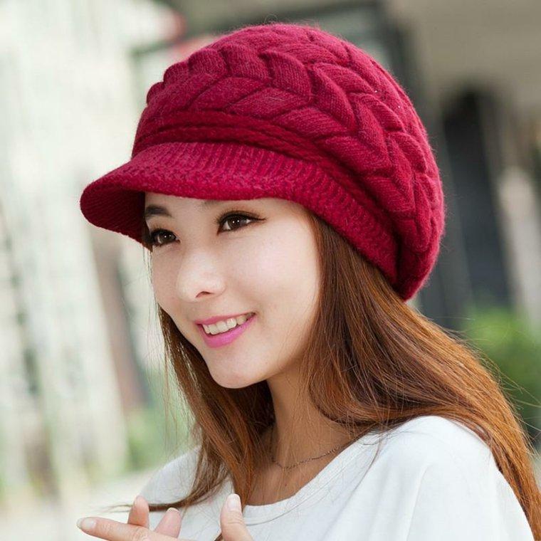 gorros de lana bicera rojo intenso rojo