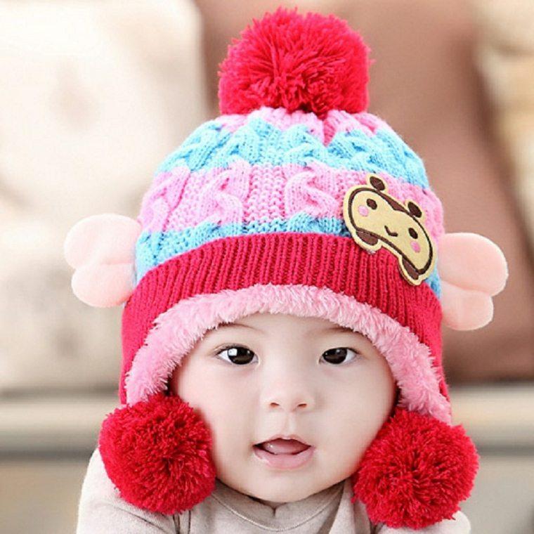 gorros de lana infantil modelo conceptos rojos