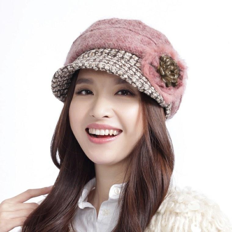 gorros de lana retro estilo combinacion flores