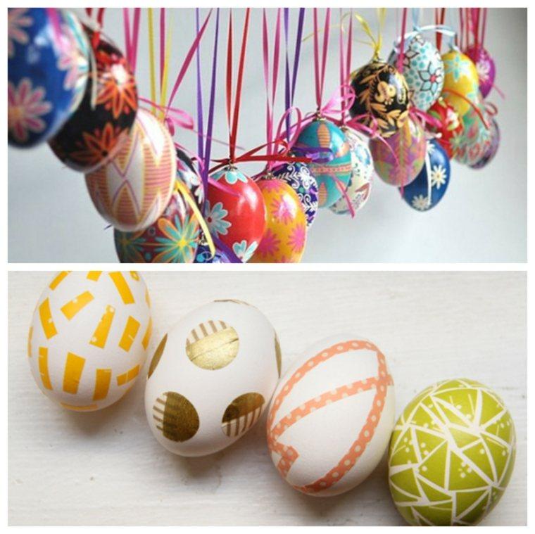 como decorar un huevo de Pascua cinta