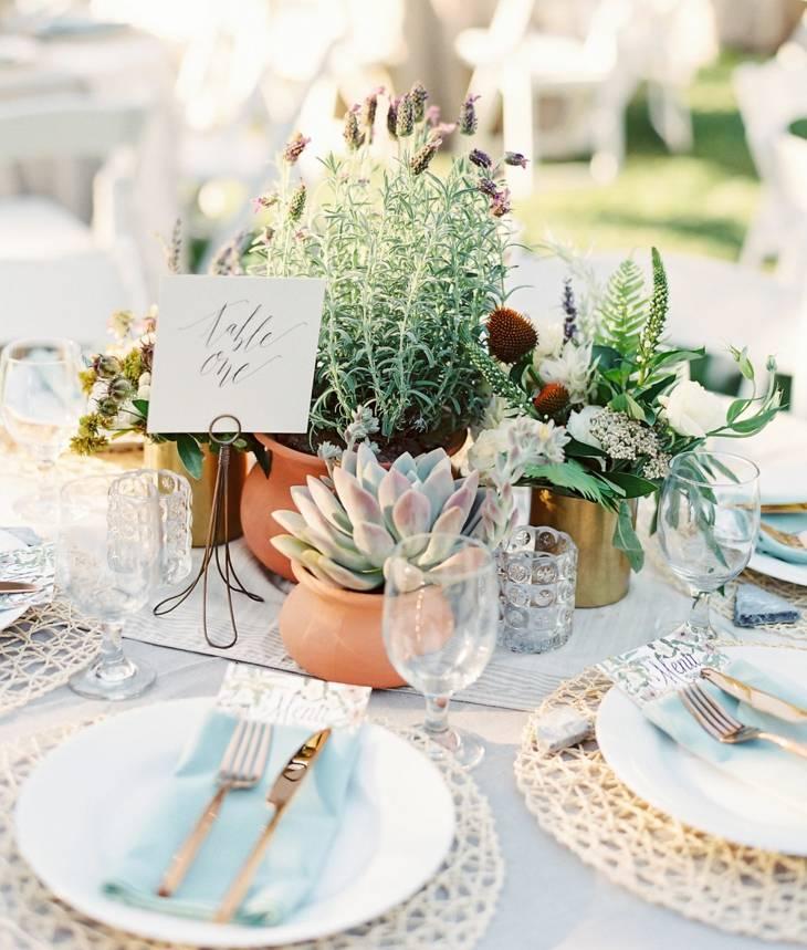 ideas originales para bodas centro plantas suculentas moderno