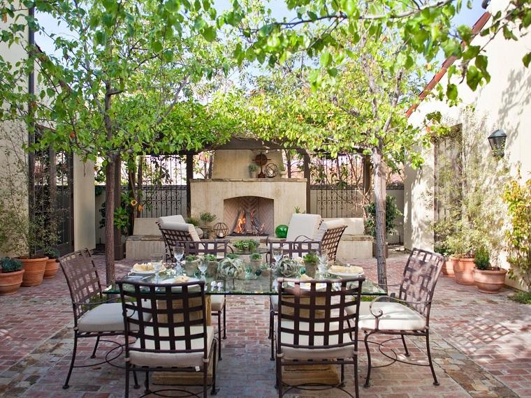 ideas para decorar jardin chimenea exterior area comidas ideas