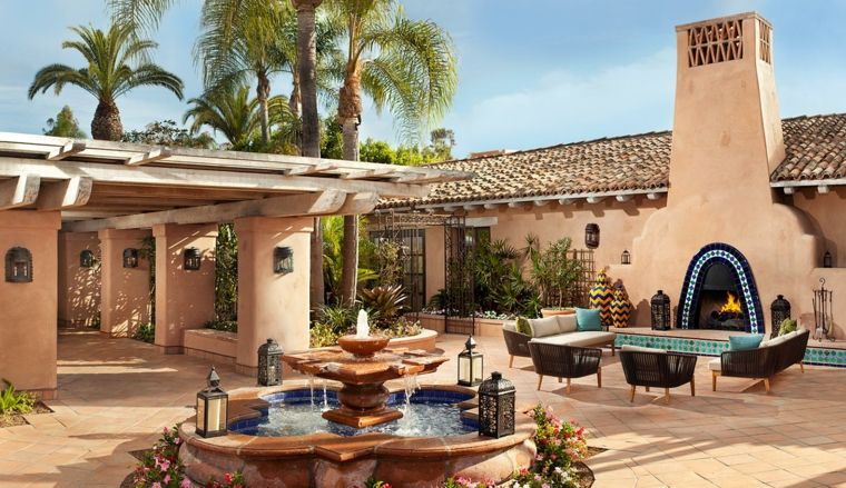 ideas para decorar jardin chimenea exterior casa estilo moderno