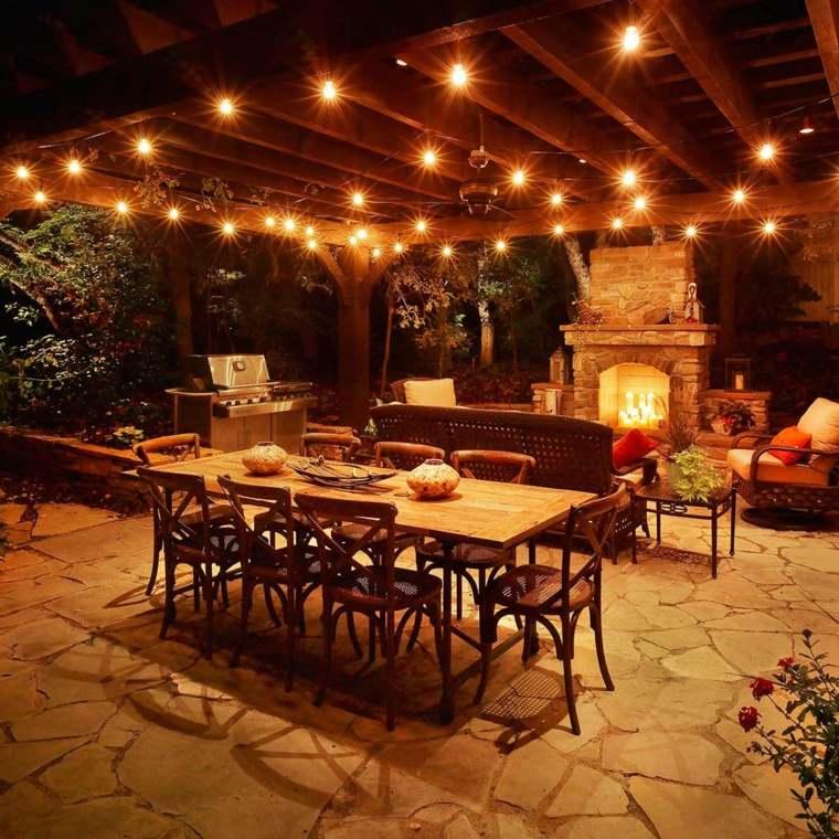 ideas para decorar jardin chimenea exterior cocina pergola moderno
