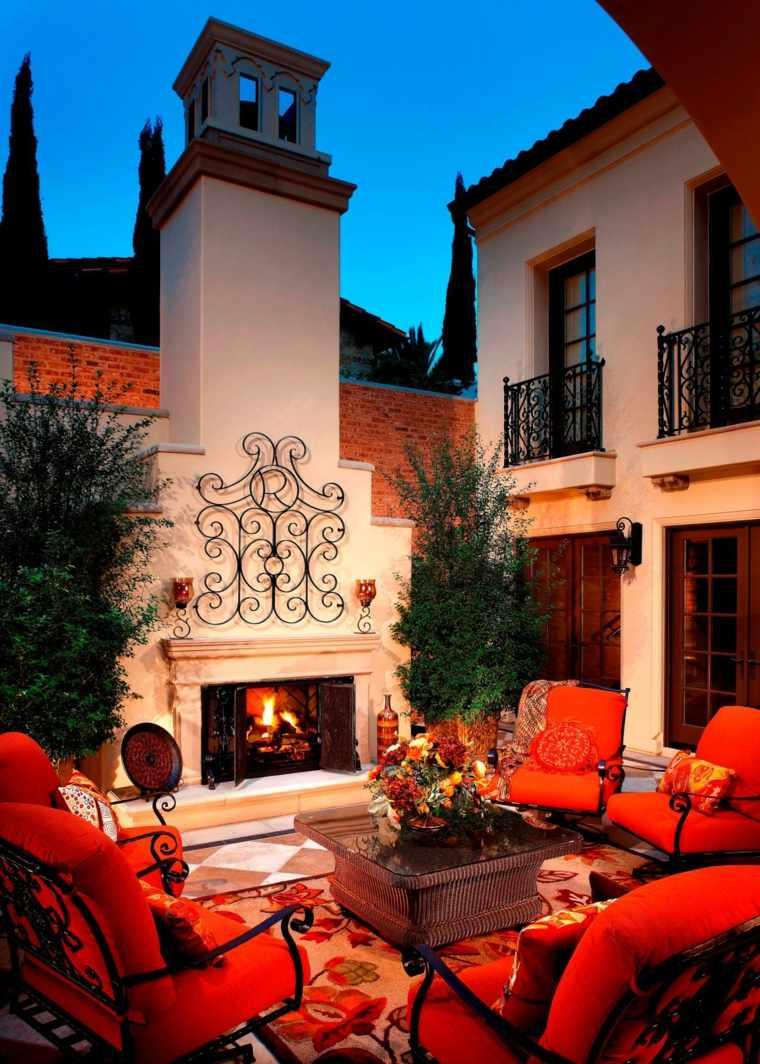 ideas para decorar jardin chimenea exterior detalle moderno