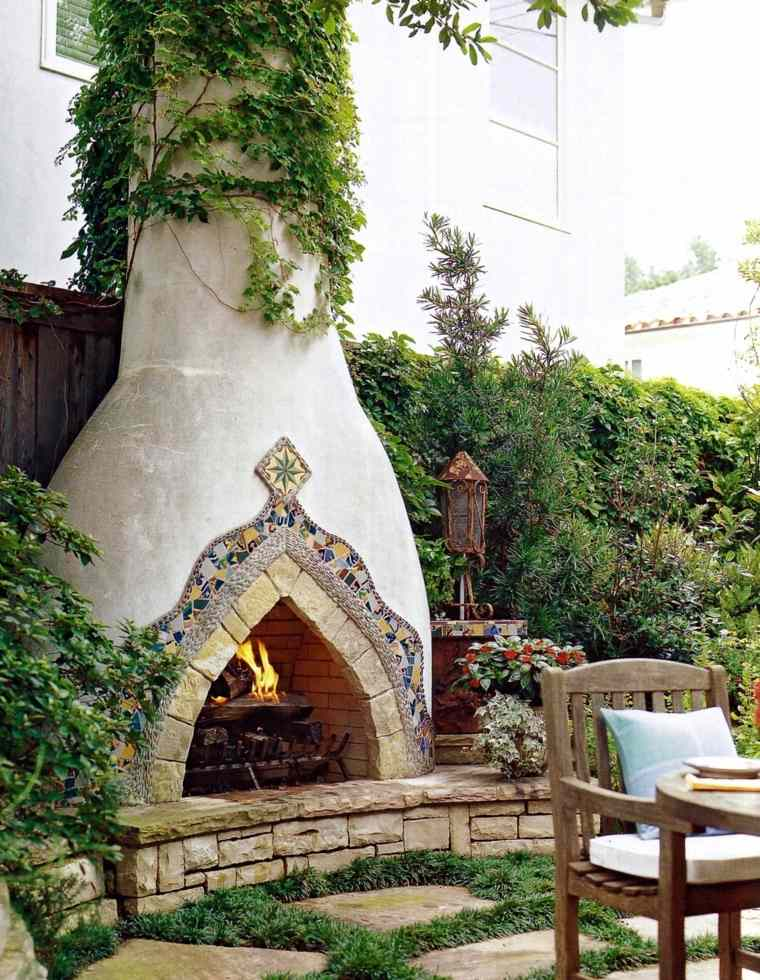 ideas para decorar jardin chimenea exterior detalles chimenea moderno